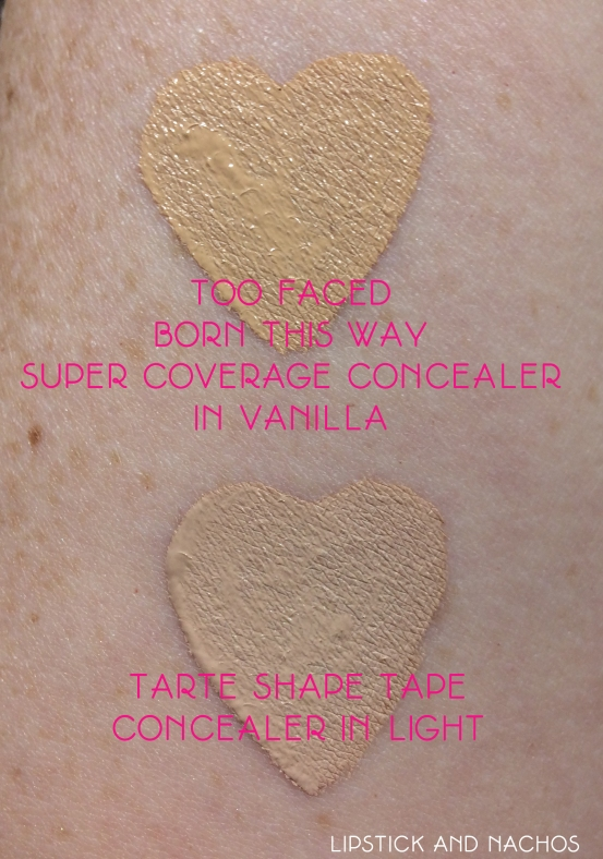 shape tape vs born this way concealer swatches