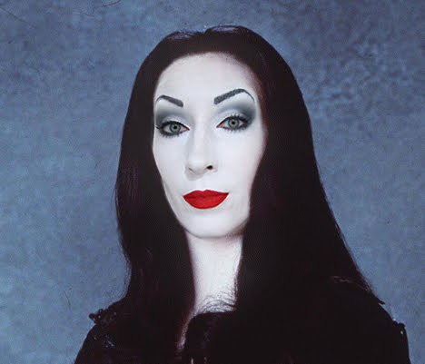 Morticia Addams Family Anjelica Huston lipstick and nachos