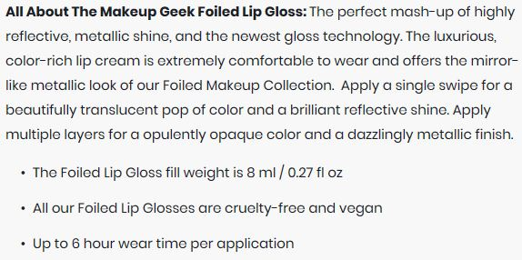 Makeup Geek Foiled Lip Gloss Mixtape